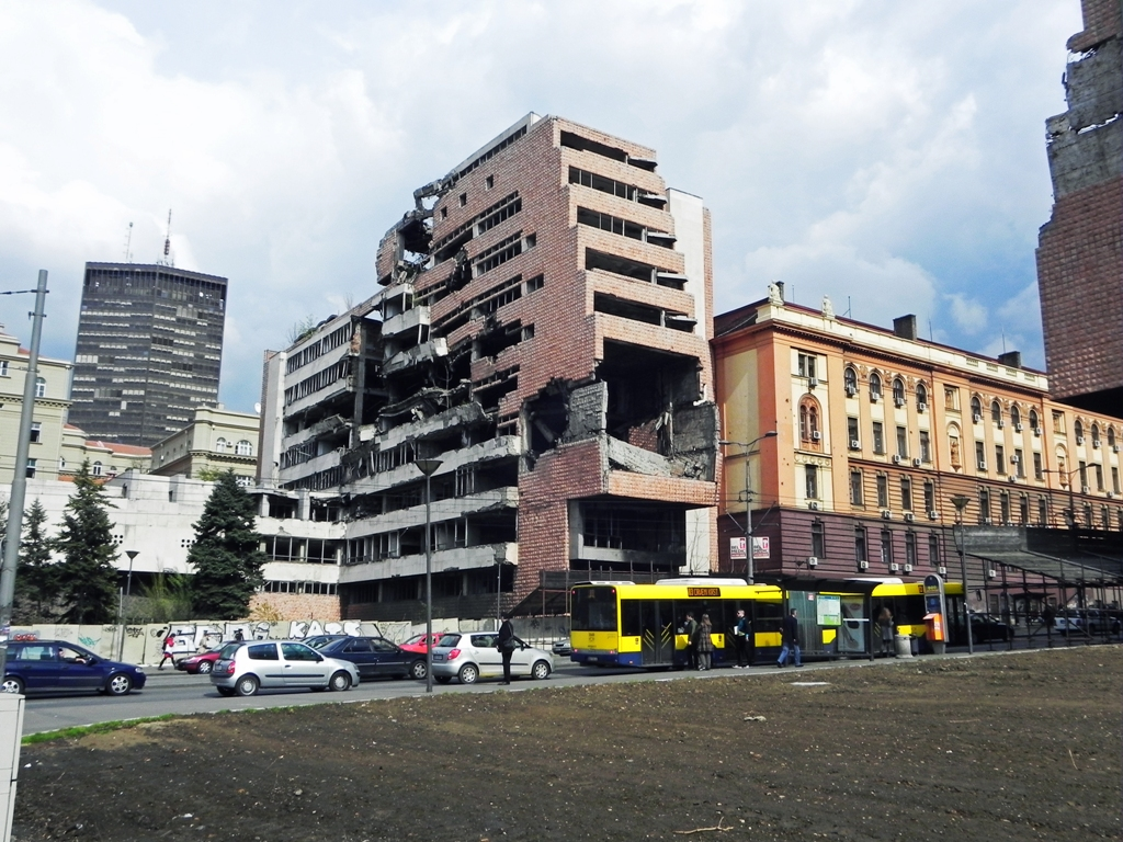 ruins of buildings left from NATO bombing