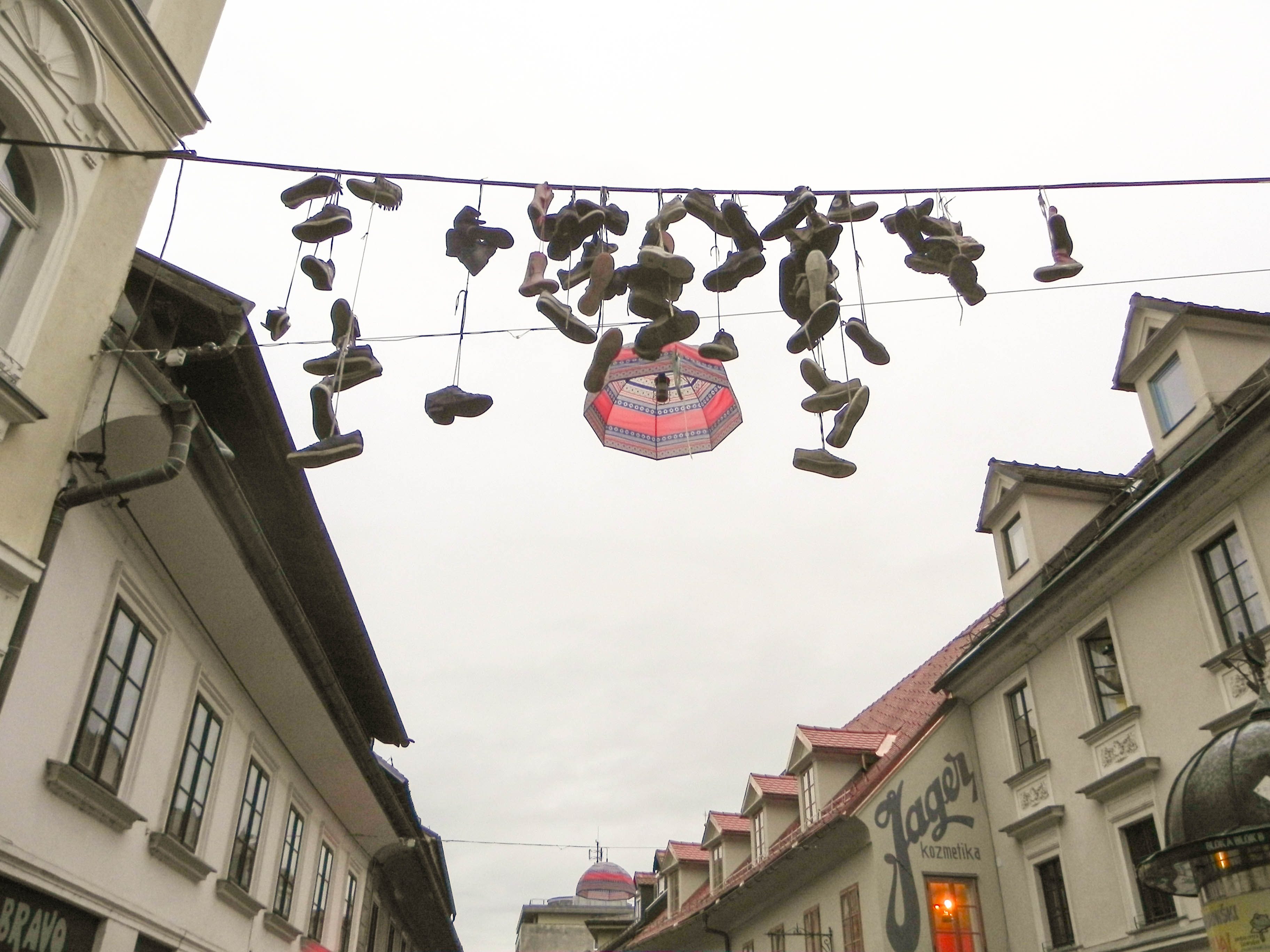 The hanging shoes, Ljubljana