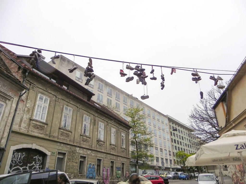 The hanging shoes Ljubljana